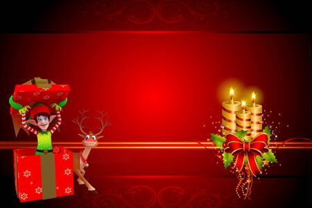 elves with reindeer on red background photo