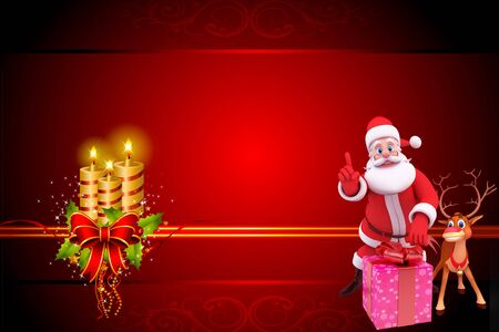 santa sitting on a  gift box with reindeer on red background photo