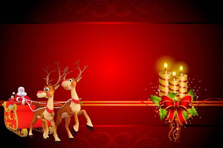 santa with his sleigh and lots of gifts on red background photo