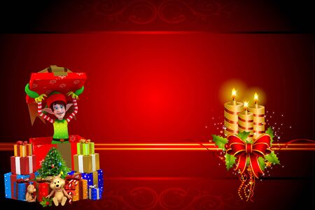 elves with lots of gifts on red background photo
