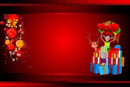 elves on red background with reindeer photo