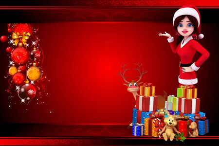 santa girl pointing towards red background photo