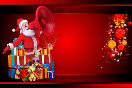 santa with loudspeaker isolated with red background with gifts photo