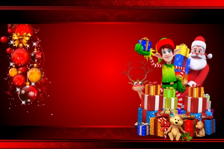 santa with elves on red background Stock Photo