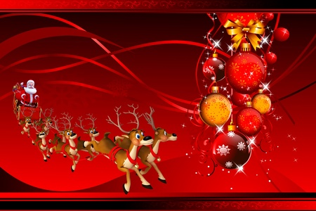santa with his sleigh on red background