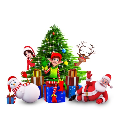santa claus with all christmas team Stock Photo