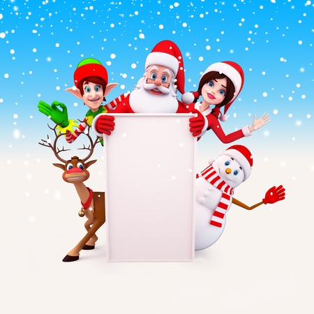santa claus with all christmas team on blue background photo