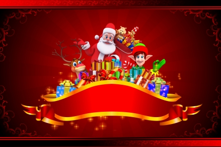 santas sleigh: santa with all christmas team on red background