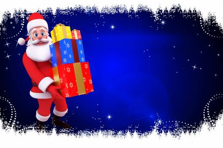 santa with lots of gifts on blue background