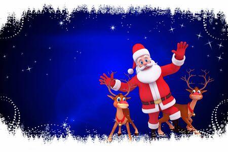santa with reindeer on blue background
