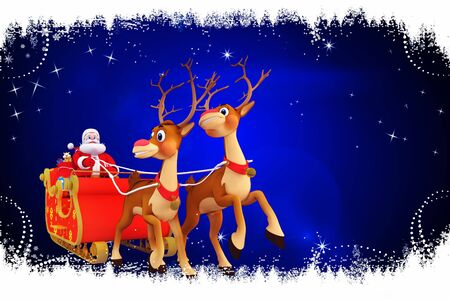 santa and his sleigh on blue background Stock Photo - 15243183