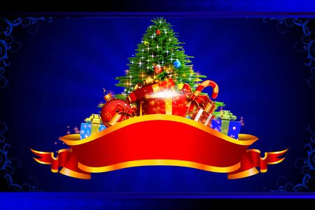 christmas tree on blue background photo