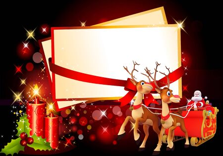 santa and his sleigh with cards on red background Stock Photo
