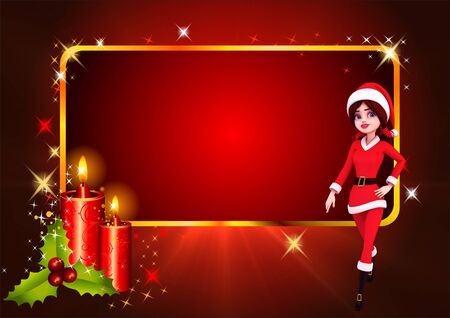 santa girl with candles on red background photo