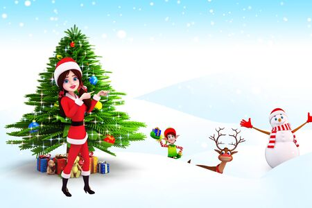 santa girl standing before christmas tree photo
