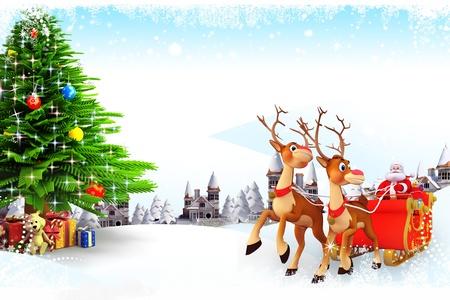 sleighs: santa and his sleigh with christmas tree Stock Photo