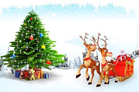 santa claus and his sleigh with christmas tree photo