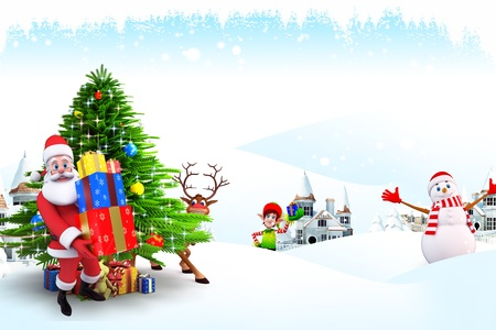 santa claus with christmas tree photo