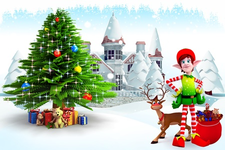 christmastime: elves and reindeer with christmas tree