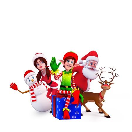 sleigh: elves sitting on the gift box