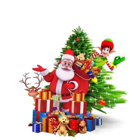 santa with lots of gifts standing before christmas tree photo