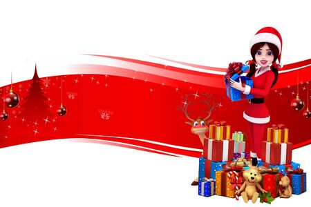 santa girl with lots of gift on red background photo