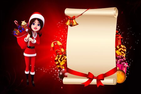 santa girl with lots of gift and sign on red background photo