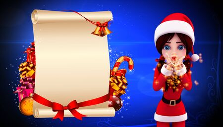 santa girl with small gift and sign on blue background photo
