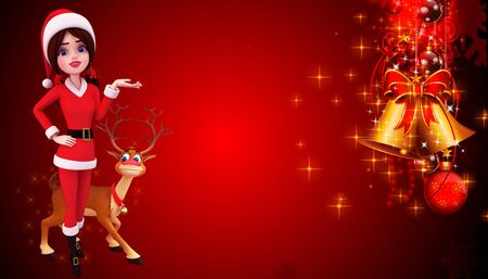 santa girl with reindeer on red background photo