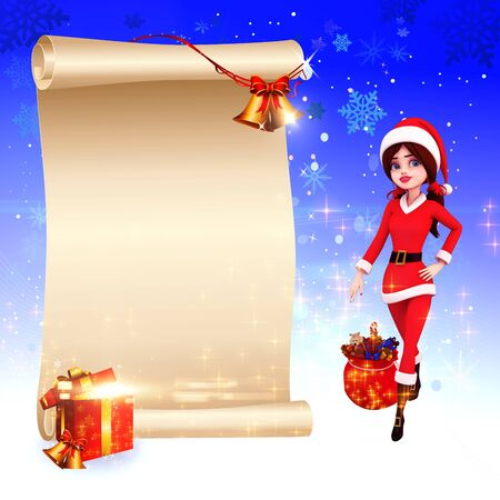 santa girl with a big sign and jingle bell photo