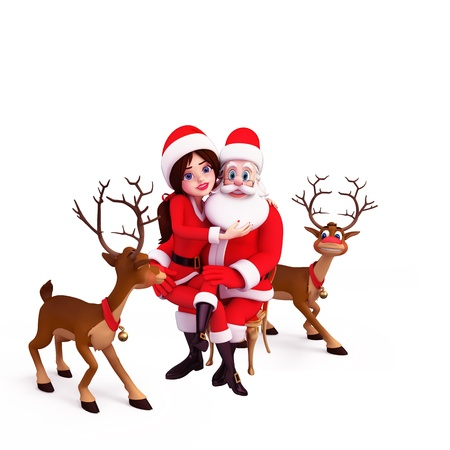santa girl with santa claus and reindeers photo