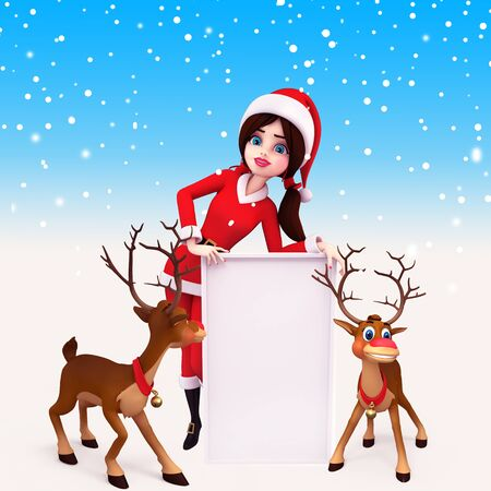 santa girl with big sign and reindeers Stock Photo