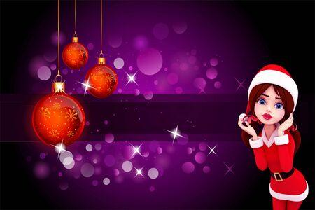 santa girl on purple background Stock Photo - 15242211