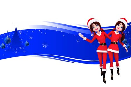 dancing santa girl on red background Stock Photo - 15242182