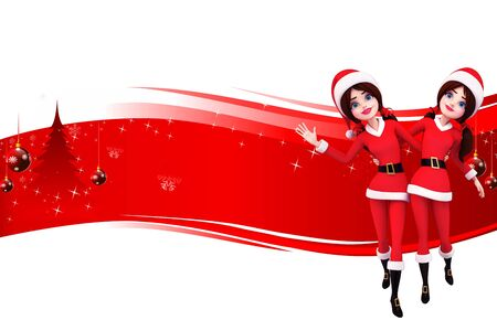 dancing santa girl on red background Stock Photo - 15242180