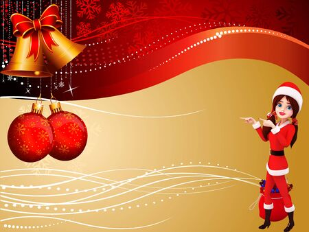 santa girl on red background photo