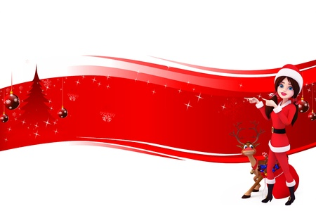 santa girl with reindeer on red background Stock Photo - 15242175