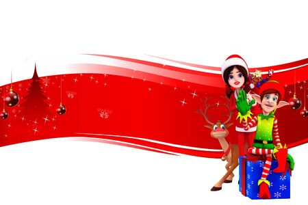 santa girl with elves on red background Stock Photo - 15242190