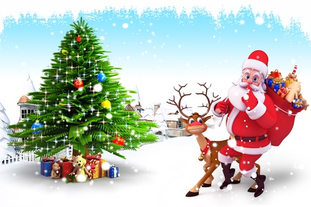 santa with reindeer and christmas tree photo