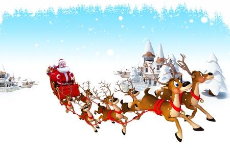 elves: santa with his sleigh   Stock Photo