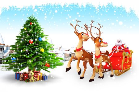 santa with his sleigh and christmas tree