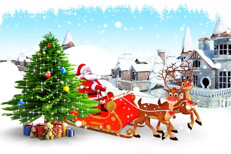 santa with his sleigh and christmas tree photo