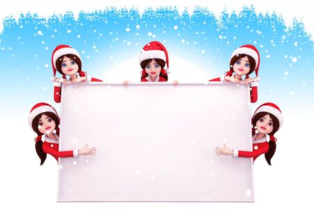 santa girls standing around a big sign Stock Photo - 15242694