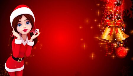 santa girl with red background photo
