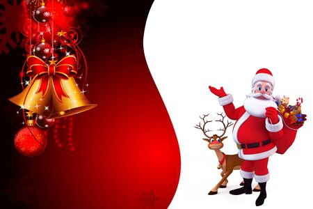 santa with one sided red background
