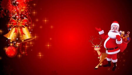 santa claus on red background photo