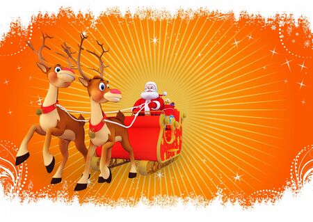 santa and his sleigh on orange background photo