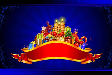 santa claus with all christmas team on blue background Stock Photo - 15242325