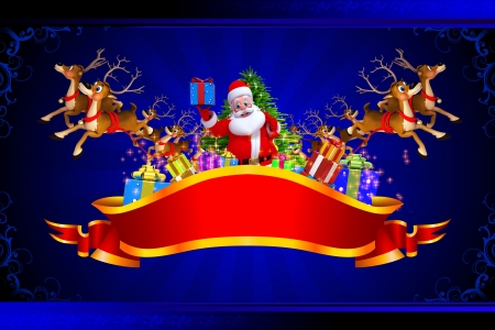 christmastime: santa claus with all christmas team on blue background Stock Photo