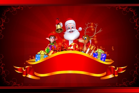 santa claus with all christmas team on red background photo
